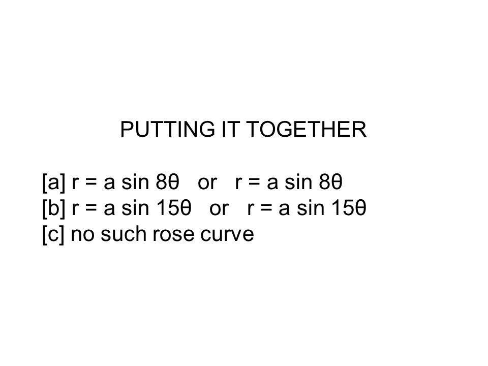 PUTTING IT TOGETHER [a] r = a sin 8θ or r = a sin 8θ [b] r = a sin 15θ or r = a sin 15θ [c] no such rose curve